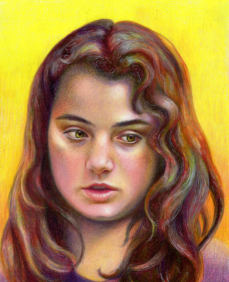 Portrait drawing in colored pencil italian girl